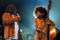 Rock in Rio 2011. Rio de Janeiro, September 24, 2011.nCantor Milton Nascimento and singer and bassist Esperanza Spalding together during the performance of their royalty free stock image