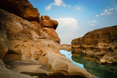 Rock and river on blue sky,Sam-Pan-Bok Grand Canyon Ubon Ratchat Royalty Free Stock Images
