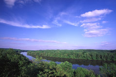 Rock River Valley - Illinois. Sweeping view of the Rock River Valley from Castle Rock - northern Illinois Stock Photos