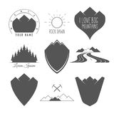 Rock Road - Shield - Forest and Sun - Set of Silhouette Vector Emblems and Badges Alpine Adventure Related. In Vintage Black and White Style Royalty Free Stock Image