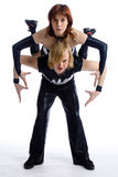 Rock-and-roll. Two dancers in same costumes on white Royalty Free Stock Photo