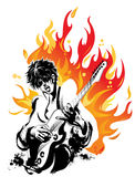 Rock and Roll. Young man playing electric guitar Stock Photography