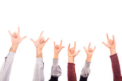Rock and Roll. Hands Raised Up with Rock And Roll Sign Stock Image