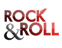 Rock and Roll. Illustration sign isolated over a white background stock illustration