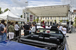 Rock and Roll animation in Pau city center. The Musical Rock and Roll animation in Pau city center with Cadillac collection automobiles 23 th of May 2015, France Stock Image