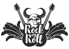 Rock and roll banner with guitar, wings and skull. Vector black and white illustration with electric guitars, wings, feathers, human skull and bull horns with Stock Photo