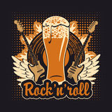 Rock and roll beer. Banner for the pub with live music Stock Photography