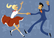 Rock and roll. Cartoon couple dressed in 1950s fashion dancing rock and roll, vector illustration, no transparencies, EPS 8 Royalty Free Stock Images