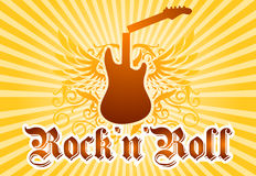 Rock and roll cool background. Music related background with broken guitar and beams as well as decoration elements and text Royalty Free Stock Image