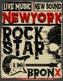 Rock-and-roll d'annata del rock star tipografico per la maglietta; DES del T royalty illustrazione gratis