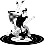 Rock and roll dancing in black and white. Couple dressed in 1950s style clothes dancing rock'n'roll, vector black and white illustration Royalty Free Stock Images