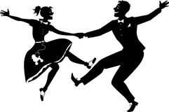 Rock and roll dancing silhouette. Black vector silhouette of a couple dressed in 1950s fashion dancing rock and roll, no white, will look the same on any color Stock Image
