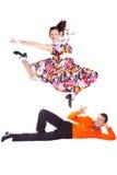 Rock-and-roll de los bailarines Imagenes de archivo