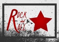 Rock-and-roll del texto, muestra de la estrella Textura del grunge del fondo con el franco libre illustration