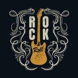 Rock-and-roll del vintage typograpic para la camiseta, designe de la camiseta, cartel Foto de archivo libre de regalías