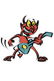 Rock and Roll Devil cartoon. Cartoon caricature of devil playing rock and roll electric guitar stock illustration