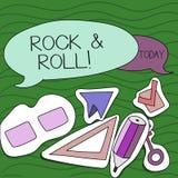 Rock-and-roll di scrittura del testo della scrittura Concetto che significa il tipo musicale del genere di suono pesante del batt illustrazione di stock