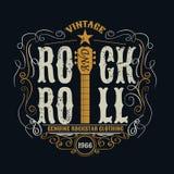 Rock and roll do vintage typograpic para o t-shirt, designe do T, cartaz Fotografia de Stock