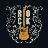 Rock and roll do vintage typograpic para o t-shirt, designe do T, cartaz Foto de Stock Royalty Free