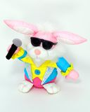 Rock and roll Easter Bunny. Stuffed bunny in a rock and roll outfit royalty free stock photos