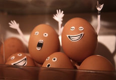 Rock and roll eggs. Partying in refrigerator stock photography