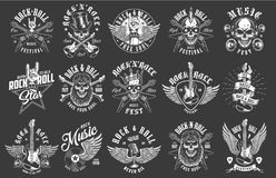 Rock and roll emblems. On black background. Vector illustration royalty free illustration