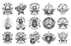 Rock and roll emblems. Set on white background. Vector illustration royalty free illustration