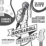 Rock and roll festival concept poster. Hand holding a microphone in a fist. Black and white illustration . mixed media.  Stock Image