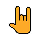 Rock and roll flat icon. Sign of the horns for apps and websites. Colorful outline flat vector icon for website or application design. Flat rock and roll hand Stock Photography