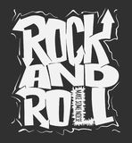 Rock and roll print, vector graphic design. t-shirt print lettering. Rock and roll grunge print, vector graphic design. t-shirt print Stock Images