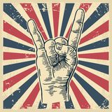 Rock and Roll hand sign. Hand drawn in a graphic style. Vintage vector engraving illustration for info graphic, poster, web Stock Photography