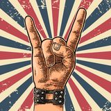 Rock and Roll hand sign. Hand drawn in a graphic style. Vintage vector engraving illustration for info graphic, poster, web Stock Photo
