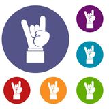 Rock and Roll hand sign icons set Stock Photos