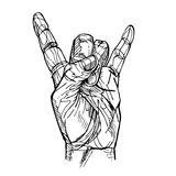 Rock and Roll hand sign. Sketch Royalty Free Stock Photo