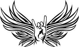 Rock and Roll hand sign. With wings, tattoo stencil royalty free illustration
