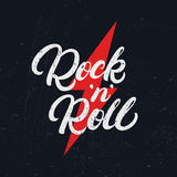 Rock and Roll hand written lettering text for tee print, banner, poster. Modern brush calligraphy. Grunge texture. Vector illustration vector illustration