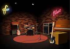 Rock and roll jazz blues music club stage. Illustration royalty free illustration