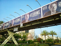 Rock and roll legend Art Garfunkel concert billboards. Rishon Le Zion, Israel - April 18, 2015: There are some concert billboards of Art Garfunkel in overhead stock images