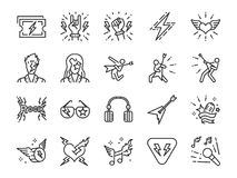 Rock and Roll line icon set. Included the icons as rocker, leather boy, concert, song, musician, heart, guitar and more. Vector and illustration: Rock and Roll stock illustration