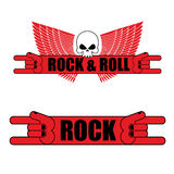 Rock and roll logo. Rock hand sign and wings. Logo for  music fe Stock Photo