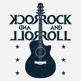 Rock and roll music grunge print with guitar. Rock-music design stock illustration