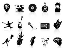 Rock and roll music icons. Rock and roll music icons set on white background Royalty Free Stock Photo