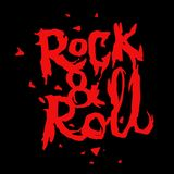 Rock and roll music print. Vector lettering in vintage horror movie style royalty free illustration