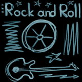 Rock and roll music word  on black Royalty Free Stock Photo