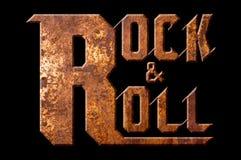 Rock and roll pojęcie odizolowywający na czarnym tle Fotografia Stock