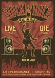Rock and roll poster. In red and black colors. Vector vintage illustration royalty free illustration