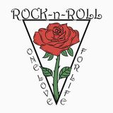 Rock and roll print with rose. Rock music graphic with - one love - for life text. Design for clothes, t-shirt, apparel. Vector. Stock Image