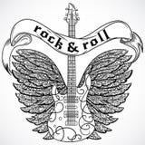 Rock And Roll Rocznika plakat z gitarą elektryczną, ozdobnymi skrzydłami i tasiemkowym sztandarem, retro ilustracyjny wektora Obraz Stock
