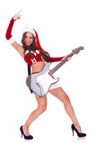 Rock and roll, Santa!. Sexy santa playing a guitar and making a rock and roll gesture on white background Stock Image