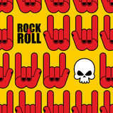 Rock and roll seamless pattern. Background of Skull and rock han Royalty Free Stock Photos